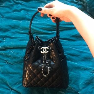 Black Chanel Drawstring Bag